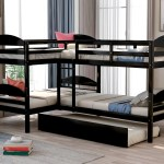 Twin Over Twin L Shaped Bunk Bed With Trundle For Kids Bedroom Espresso Walmart Com Walmart Com