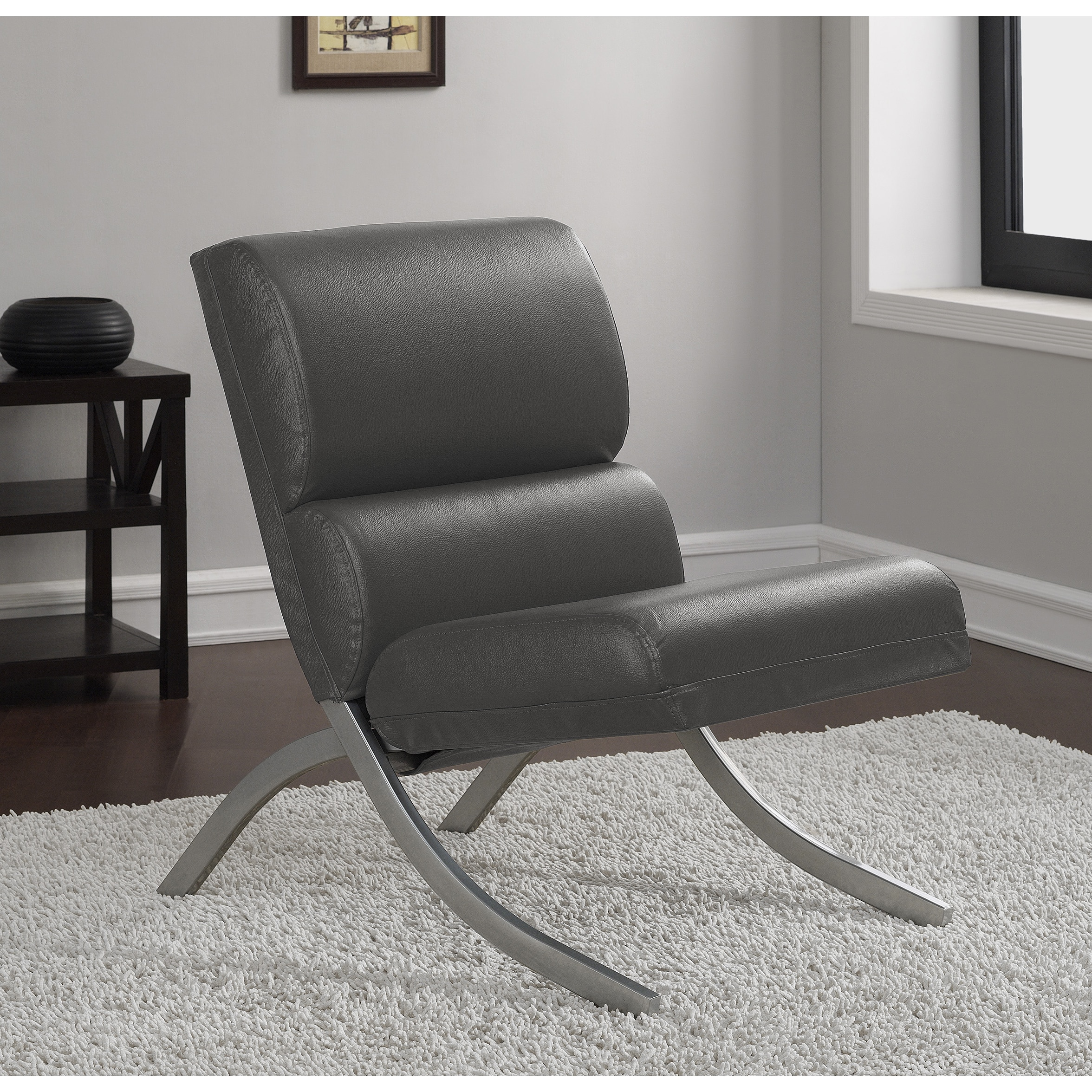 rialto black bonded leather chair red covers ebay charcoal walmart com