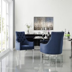 Navy Blue Dining Chairs Set Of 2 Office Chair Costco Colton Velvet Acrylic Legs Walmart Com