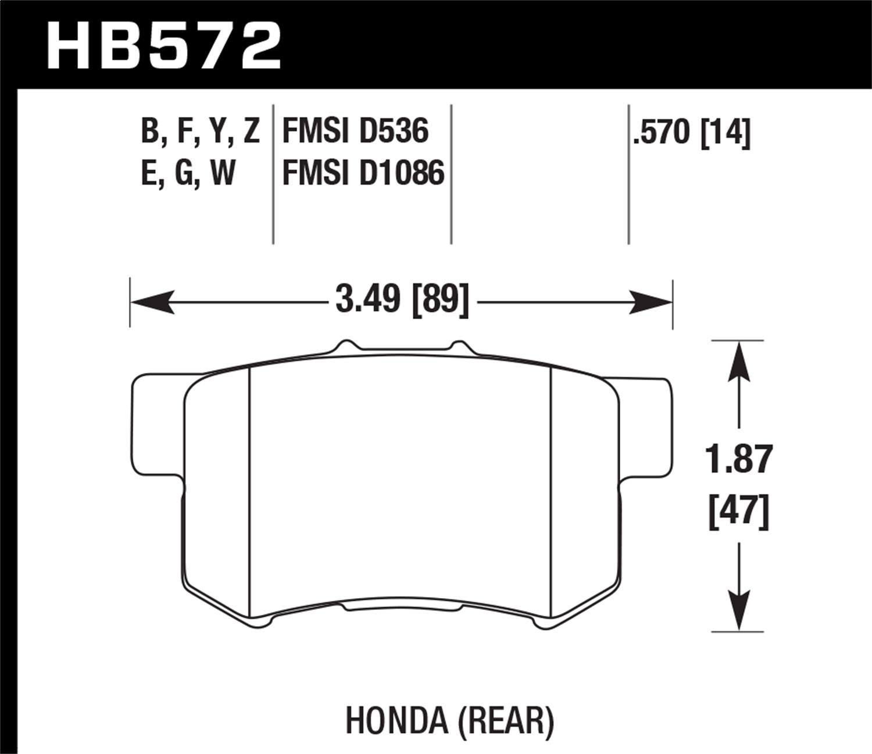 Hawk 2001-2003 Acura CL Type-S HPS 5.0 Rear Brake Pads