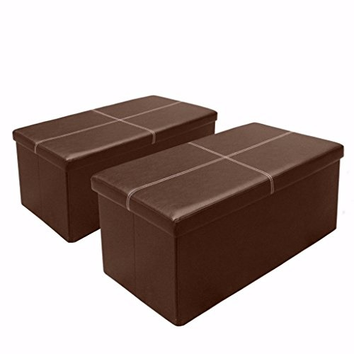 otto ben 30 storage ottoman 2pc set folding toy box chest with memory foam seat faux leather trunk ottomans bench foot rest stool line brown