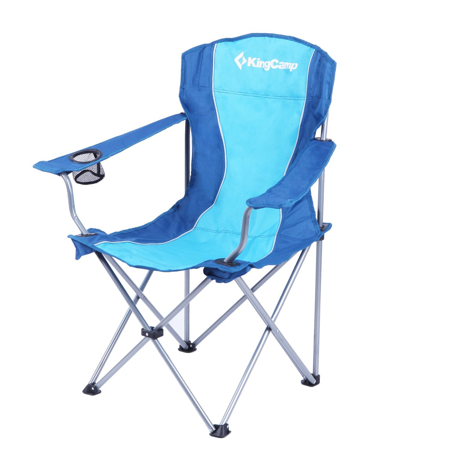 padded camping chair vinyl straps for patio chairs kingcamp folding camp quad steel frame with armrest and mesh cup holder oversized light