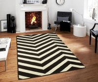 Large Chevron Black & White Zig Zag Area Rugs Kitchen ...