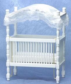 dollhouse white canopy crib