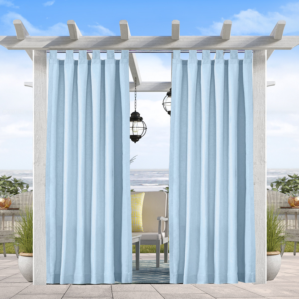 pro space outdoor curtain panels patio privacy screen hook loop curtain panel blackout uv ray protected waterproof outdoor drape front