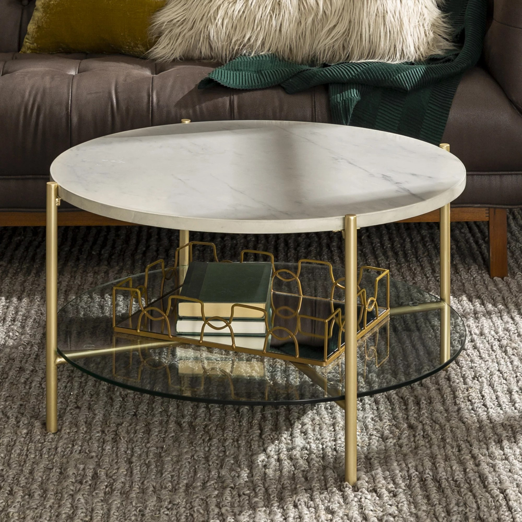 manor park mid century round coffee table white marble gold walmart com