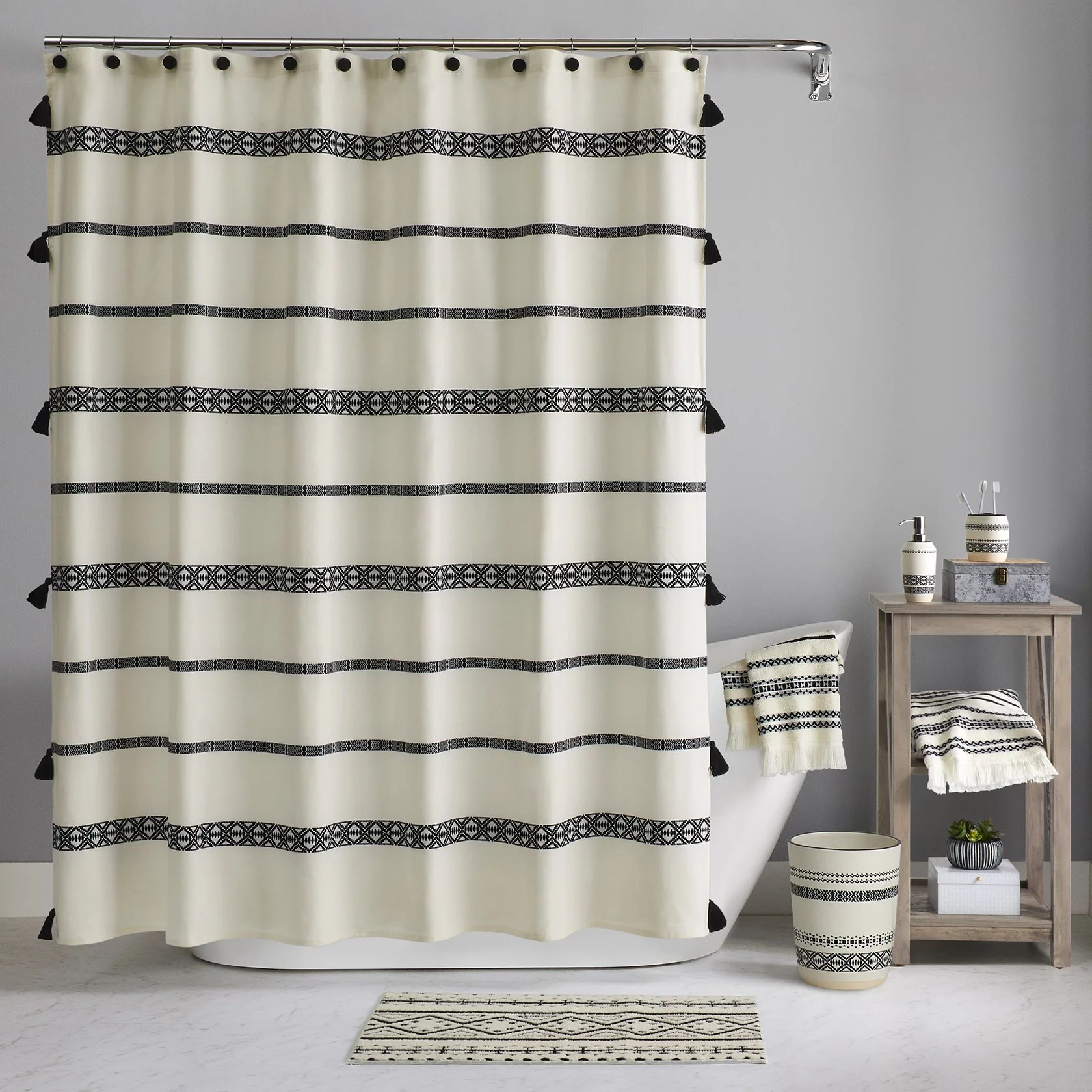 better homes gardens boho chic cotton shower curtain beige black 72 x72
