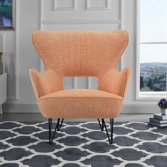 Mid Century Modern Accent Chair Orange Vivere Hanging Linen Fabric Armchair With