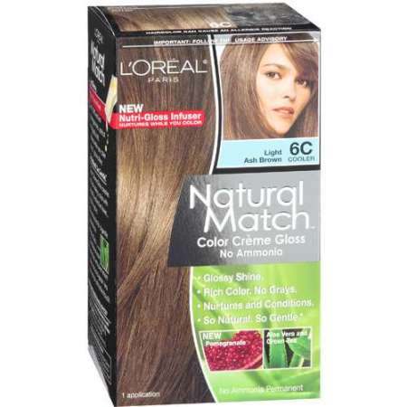 l oreal paris natural match color crᅢᄄme gloss light ash brown 6c cooler haircolor 1 kt