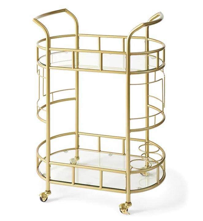 Better Homes & Gardens Fitzgerald 2-Tier Serving Cart, Gold