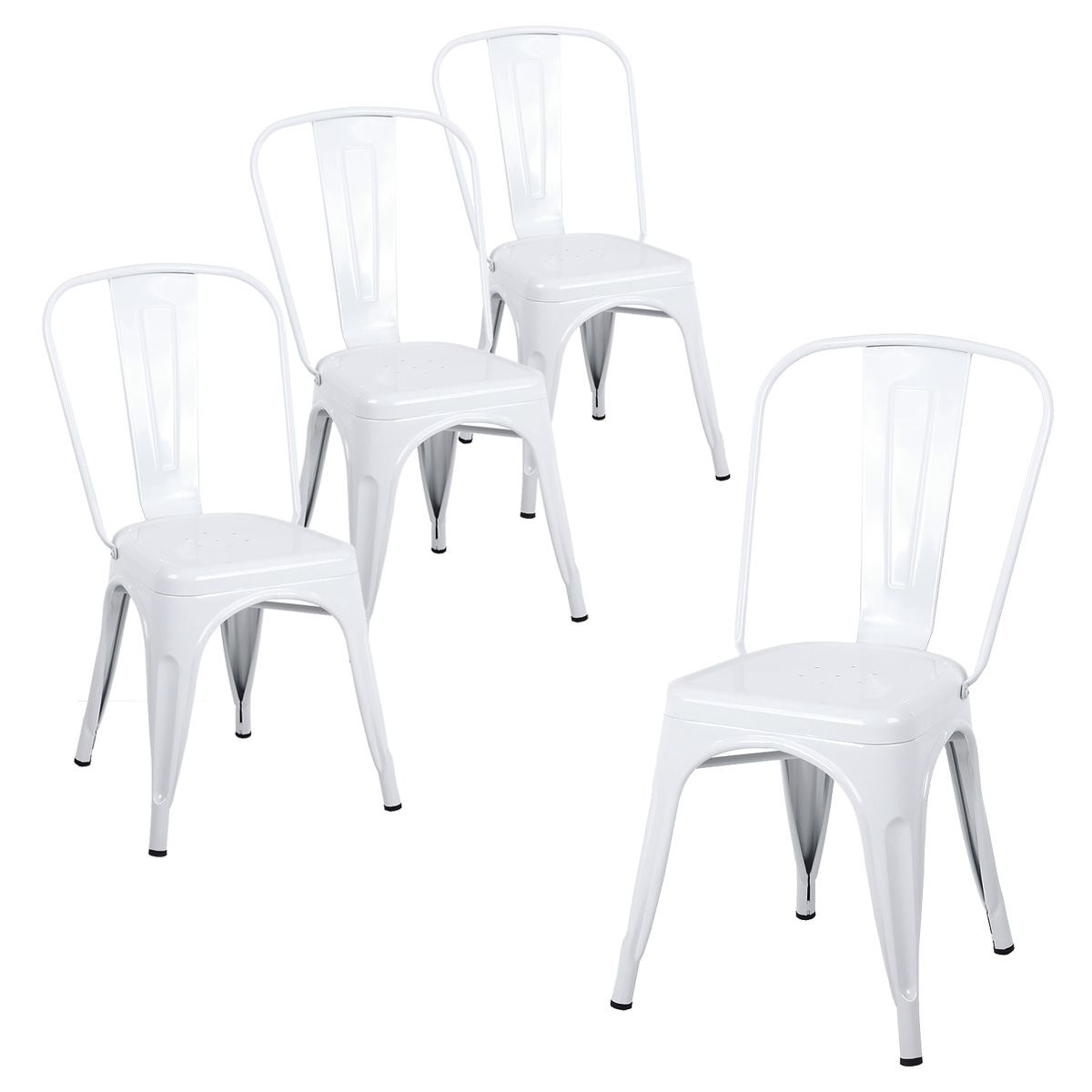 White Stackable Chairs Buschman Set Of Four White Tolix Style Metal Indoor Outdoor Stackable Chairs With Back
