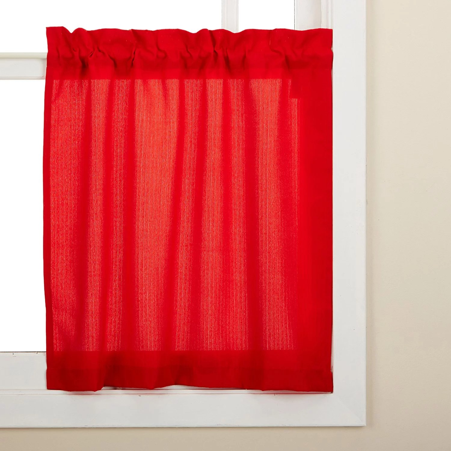 Solid Red Kitchen Curtains Curtain