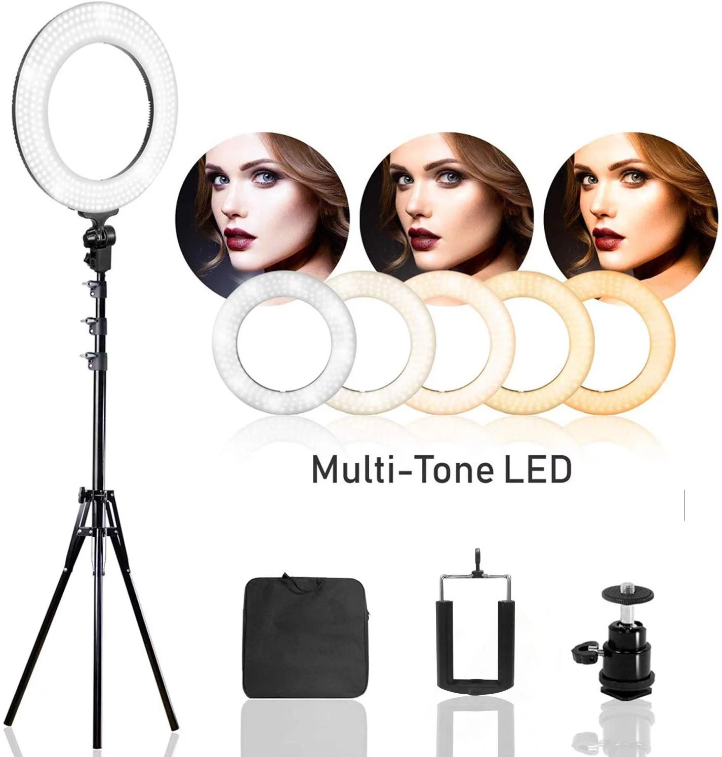 ls photography 14 dimmable dual colored led round ring light continuous lighting kit for beauty facial shoot light stand tripod cell phone holder