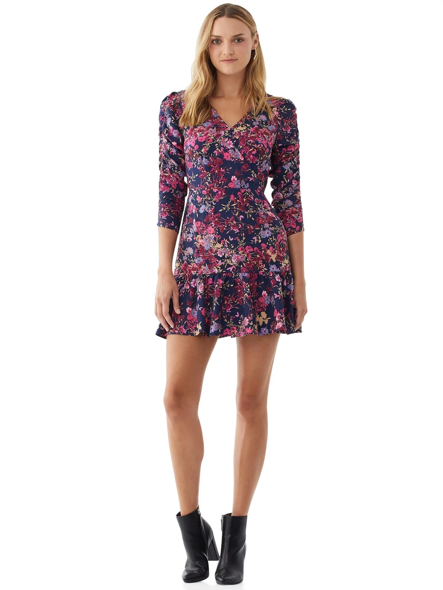 scoop women s scrunch sleeve printed dress