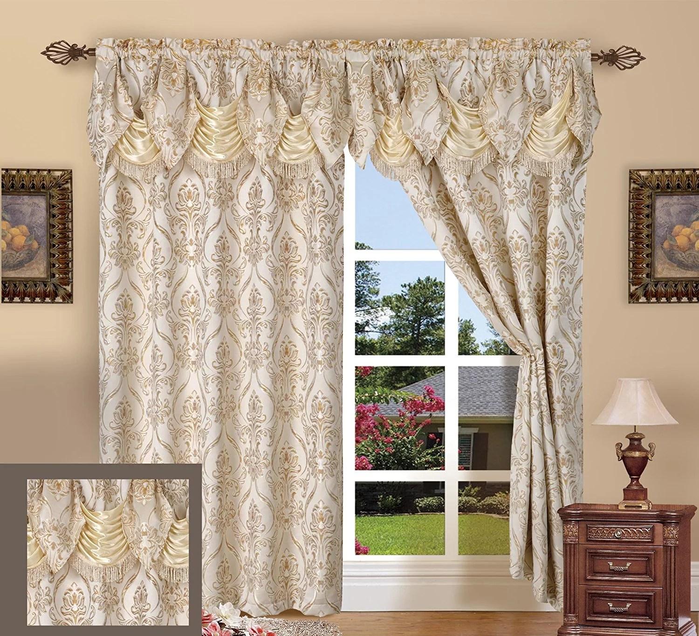 elegant comfort beautiful design jacquard look curtain panels 55 x 84 18 with attached austrian valance beige walmart com
