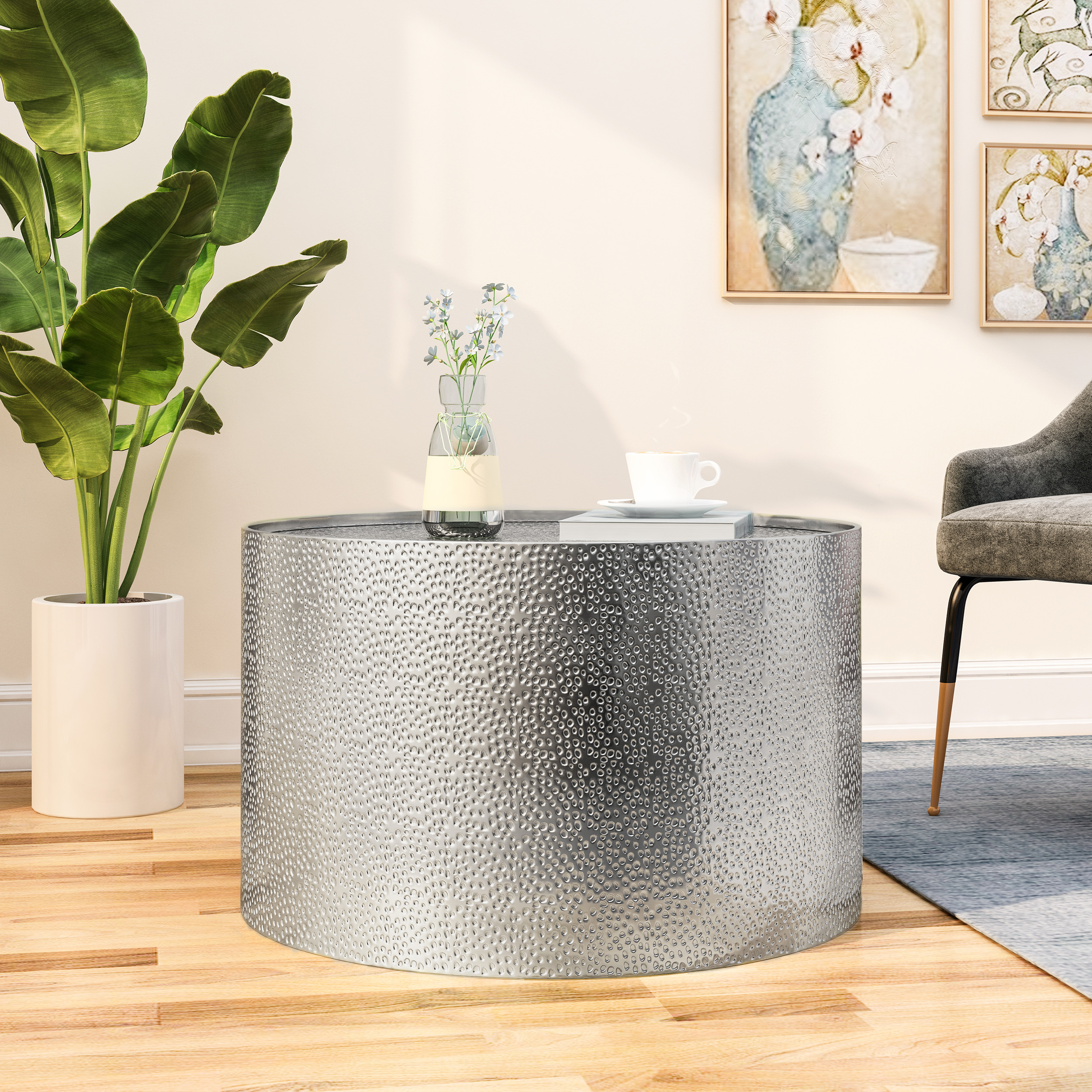 rache modern round coffee table with hammered iron silver walmart com
