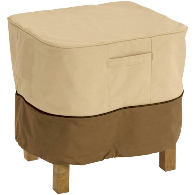 "Classic Accessories Veranda Square Patio Ottoman and Table Furniture Storage Cover, fits up to 21""L x 21""W"