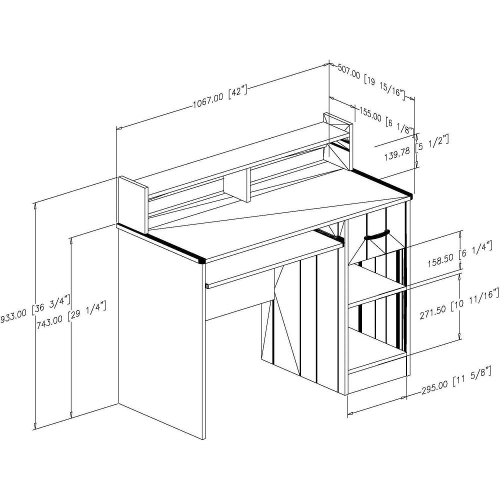 medium resolution of south shore smart basics small desk with 4 shelf bookcase multiple finishes walmart com