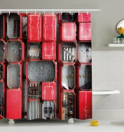 industrial shower curtain fuse cabinet close up photo industrial type junction cables box electricity fabric bathroom set with hooks red white grey  [ 4429 x 4074 Pixel ]