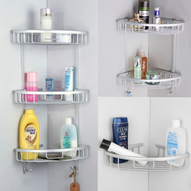 triangular shower caddy, 3 layers aluminum bathroom corner rack