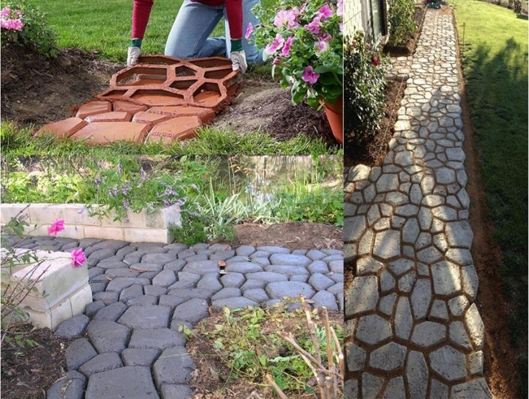 walk path maker mold diy reusable concrete cement stone design paver walk maker mould pattern for paving pavement patio walkway