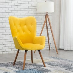 Accent Chair Yellow Rent Chairs And Tables For Party Roundhill Doarnin Contemporary Silky Velvet Tufted Button Back Walmart Com