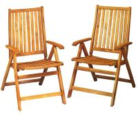 Set of 2 Acacia Wood Folding Chairs Outdoor Patio ...