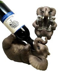 SAFARI ELEPHANT PACHYDERM SALT PEPPER SHAKERS AND WINE OIL