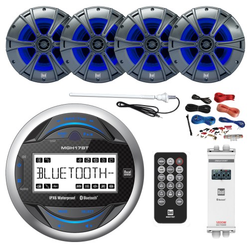 small resolution of  dual mp3 usb bluetooth gauge receiver 4x dual 6 5 2 way marine speakers w led dual 1200 watts 4 channel amp w bluetooth 8 gauge amp install kit