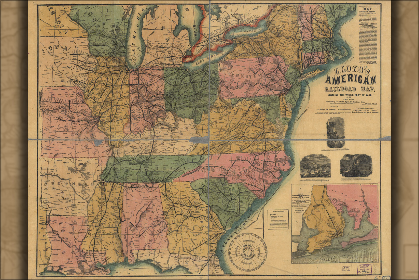 24 X36 Gallery Poster Civil War Railroad Map Of United