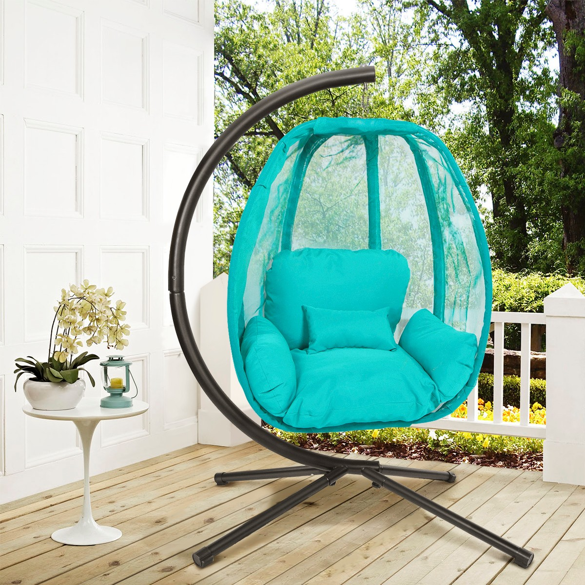 patio hanging egg chair replacement mesh slings for chairs xtremepowerus outdoor swing hammock seat w departments