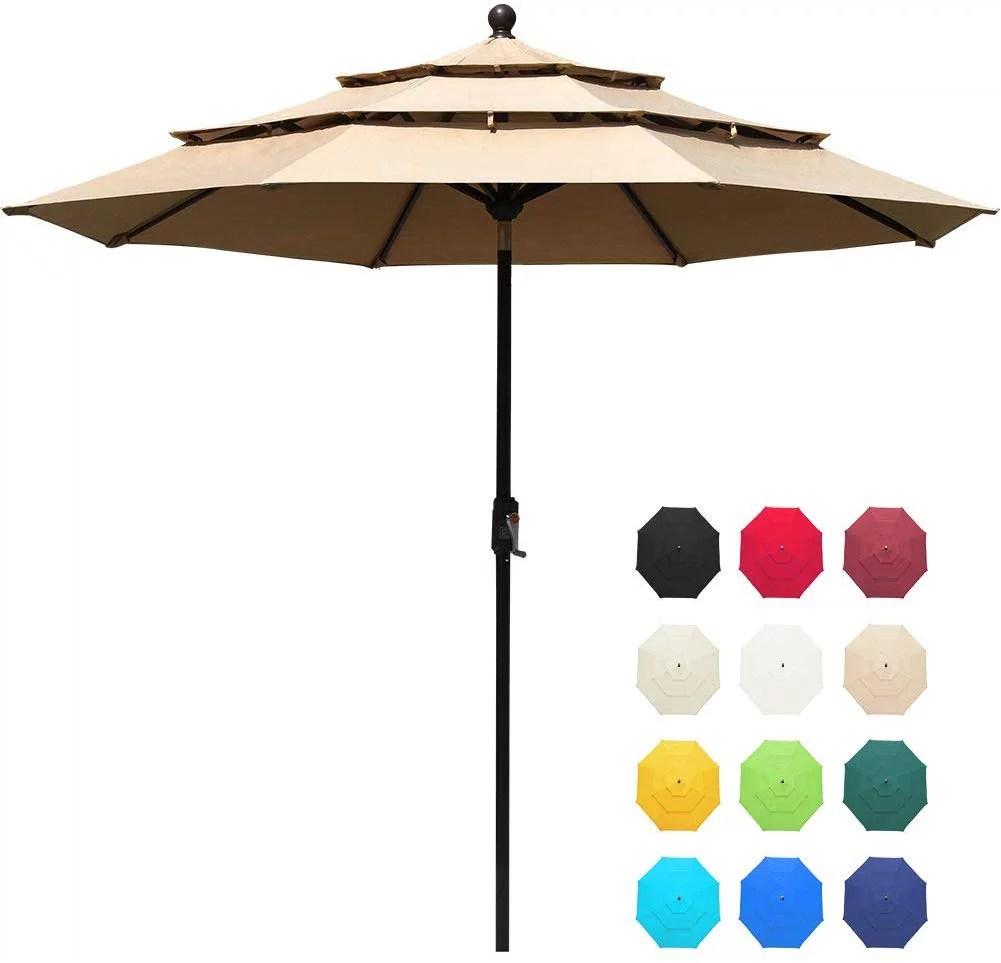 eliteshade sunbrella 9ft 3 tiers market umbrella patio outdoor table umbrella with ventilation and 10 years non fading guarantee sunbrella heather
