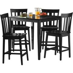 Tall Table And Chairs Unfinished Youth Dining Chair Dinning Room Set Wood 5 Piece Counter