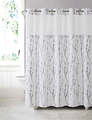 hookless rbh40my080 cherry bloom shower curtain with peva liner white lilac