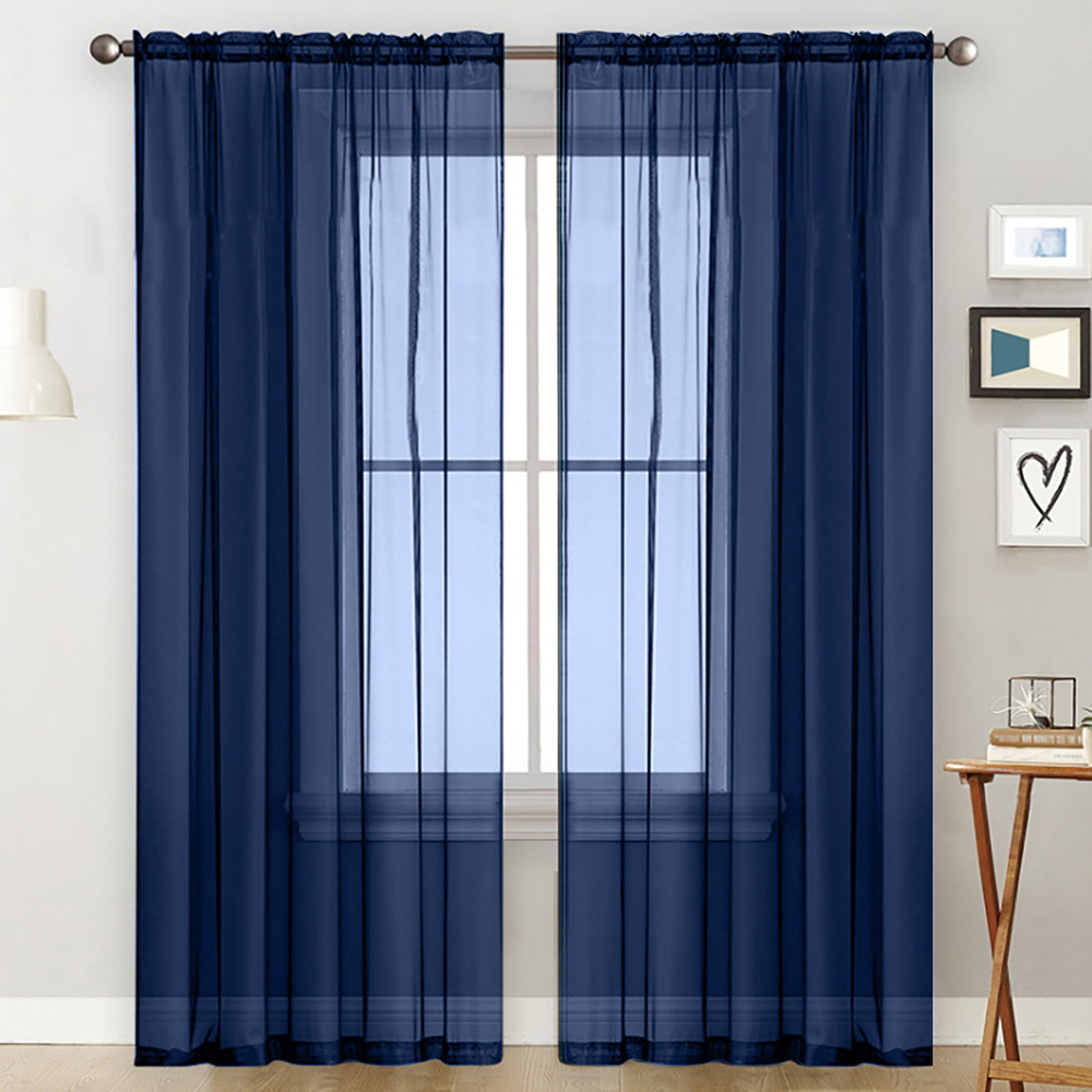 abody sheer curtains living room rod pocket window curtain panels bedroom semi sheer voile curtains dark blue 55 wx102 l 2 panels