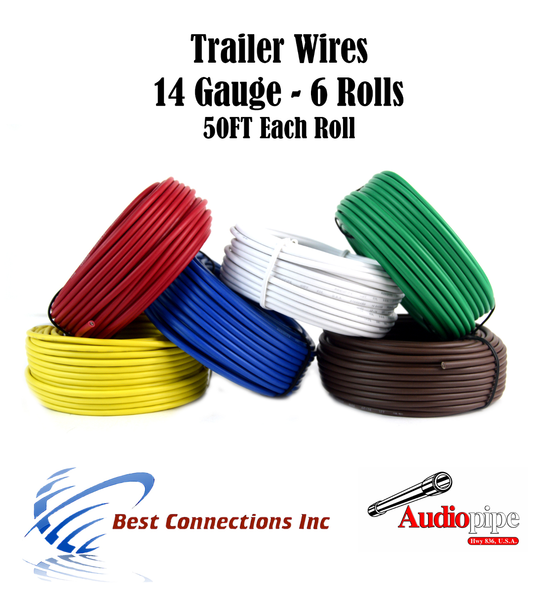 hight resolution of 6 way trailer wire light cable for harness led 50ft each roll 14 gauge 6 rolls walmart com