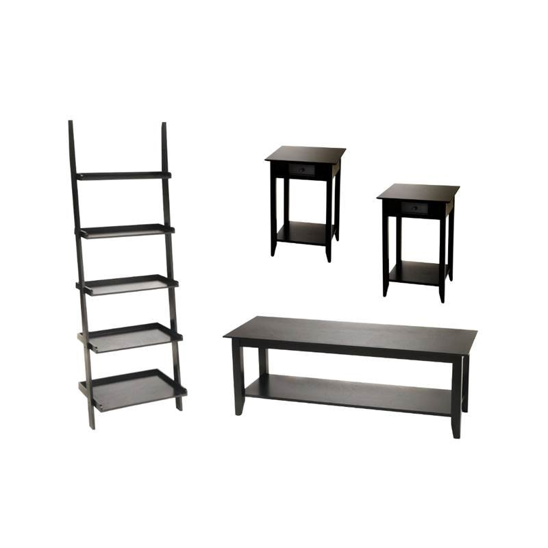 4 piece living room set with ladder bookshelf coffee table and set of 2 end table in black