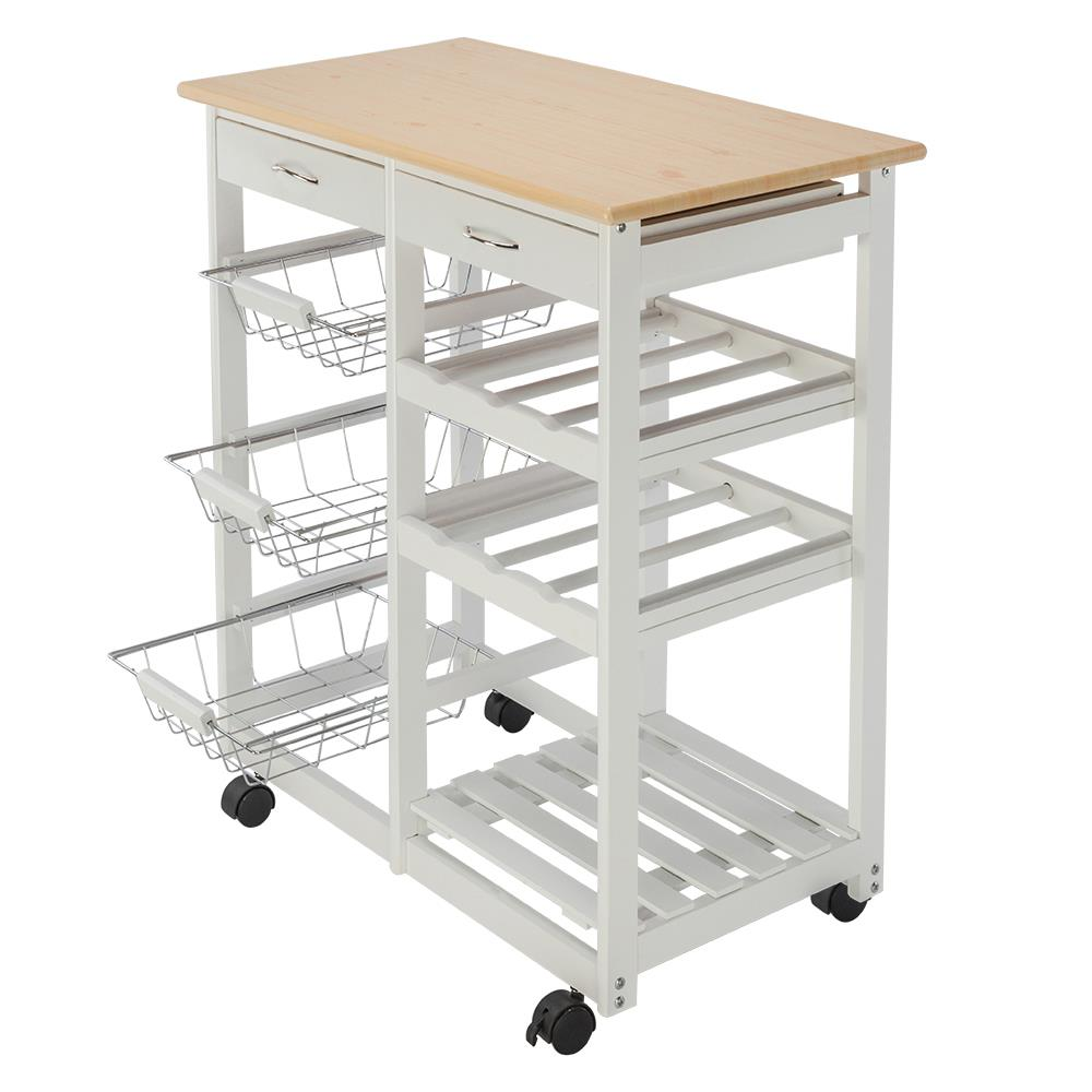 portable kitchen cart moen faucets repair ktaxon rolling island storage drawers baskets trolley stand