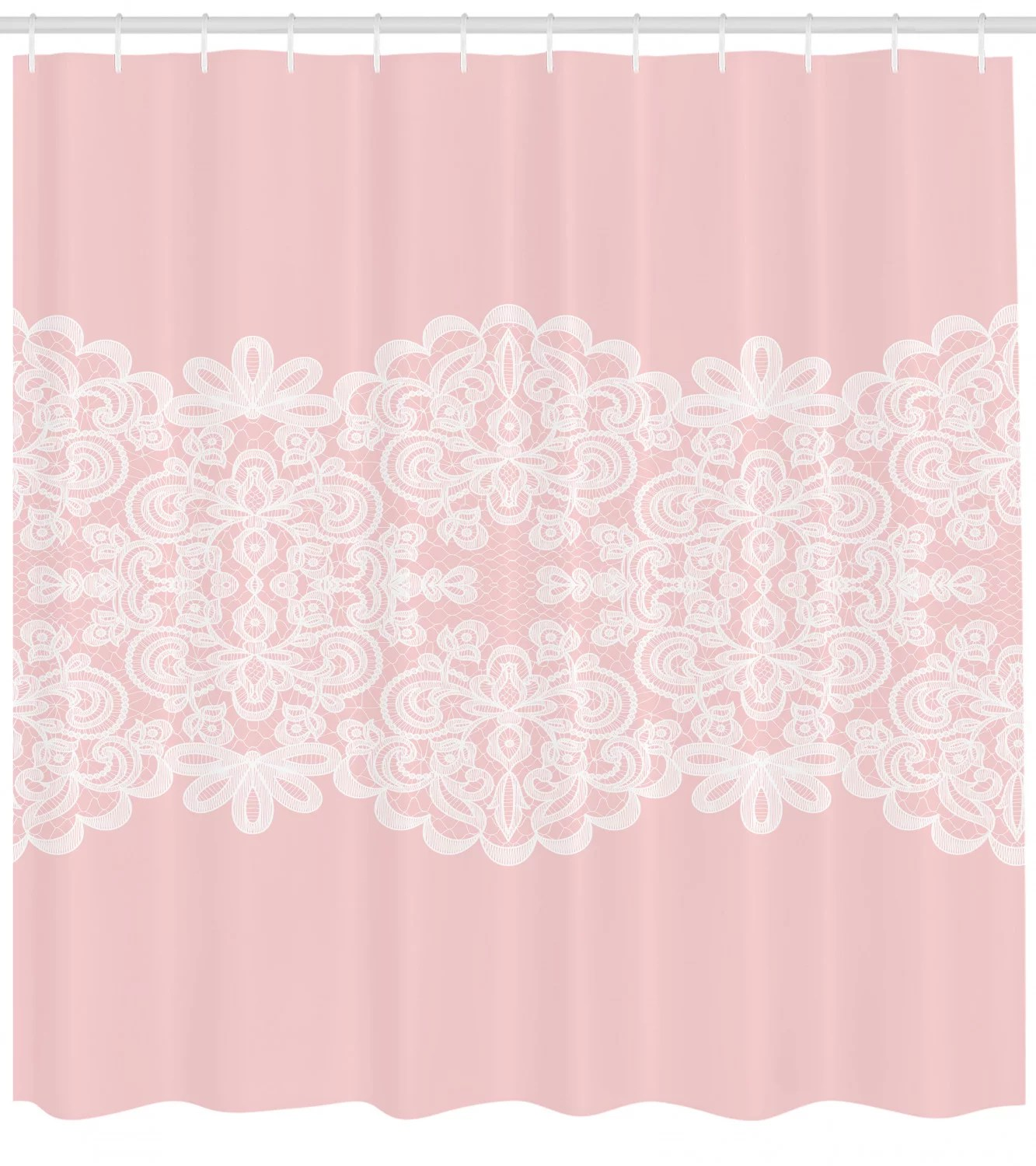pink and white shower curtain white needlework ornament on pastel backdrop vintage wedding bridal theme fabric bathroom set with hooks 69w x 75l