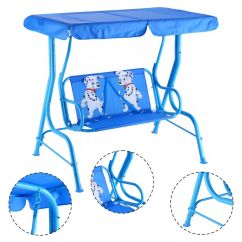 Swing Chair Metal Patio Hanging Stand Costway Kids Children Porch Bench Canopy 2 Person Yard Furniture Blue Walmart Com