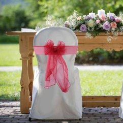 Party Chair Covers Walmart Diy Recliner 100pcs Organza Cover Sash Bows For Wedding Events Decoration Com