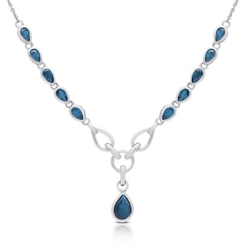 Sterling Silver London Blue Topaz Teardrop Necklace