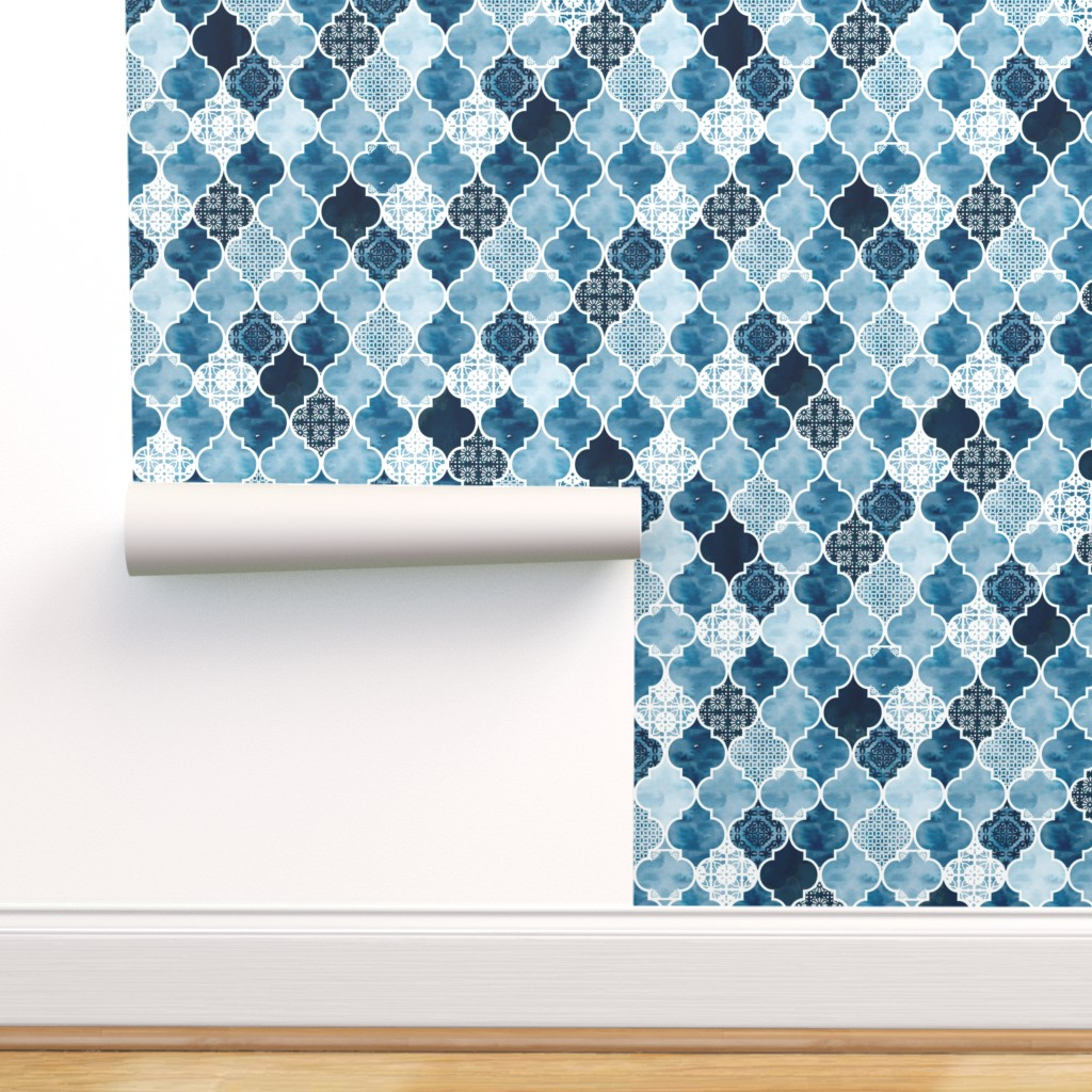 peel and stick removable wallpaper moroccan tile blue white geometric ogee