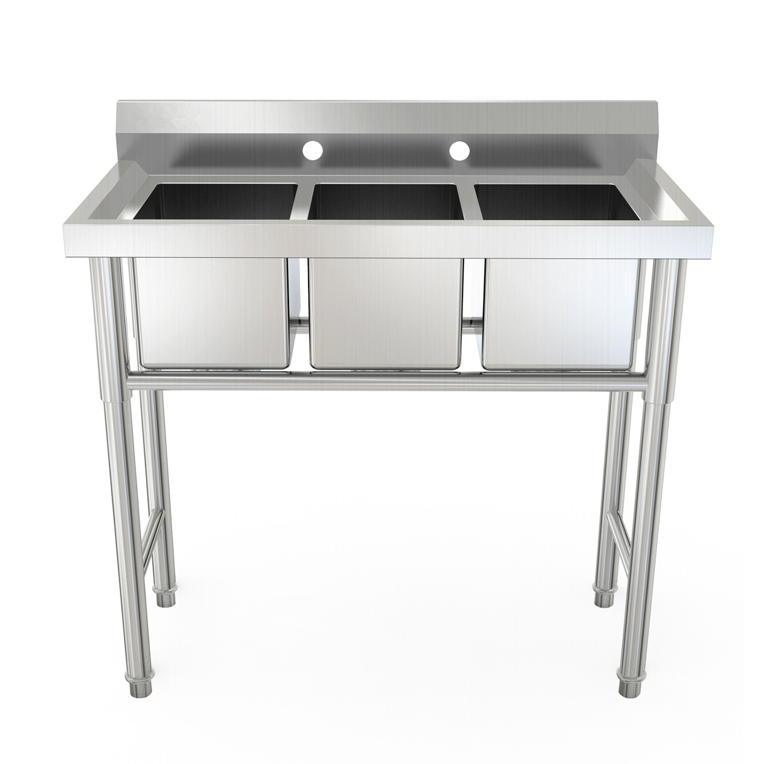 zimtown 39 wide heavy duty 3 compartment commercial stainless steel sink walmart com