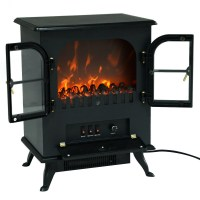1500W Free Standing Electric Fireplace Heater Fire Flame ...