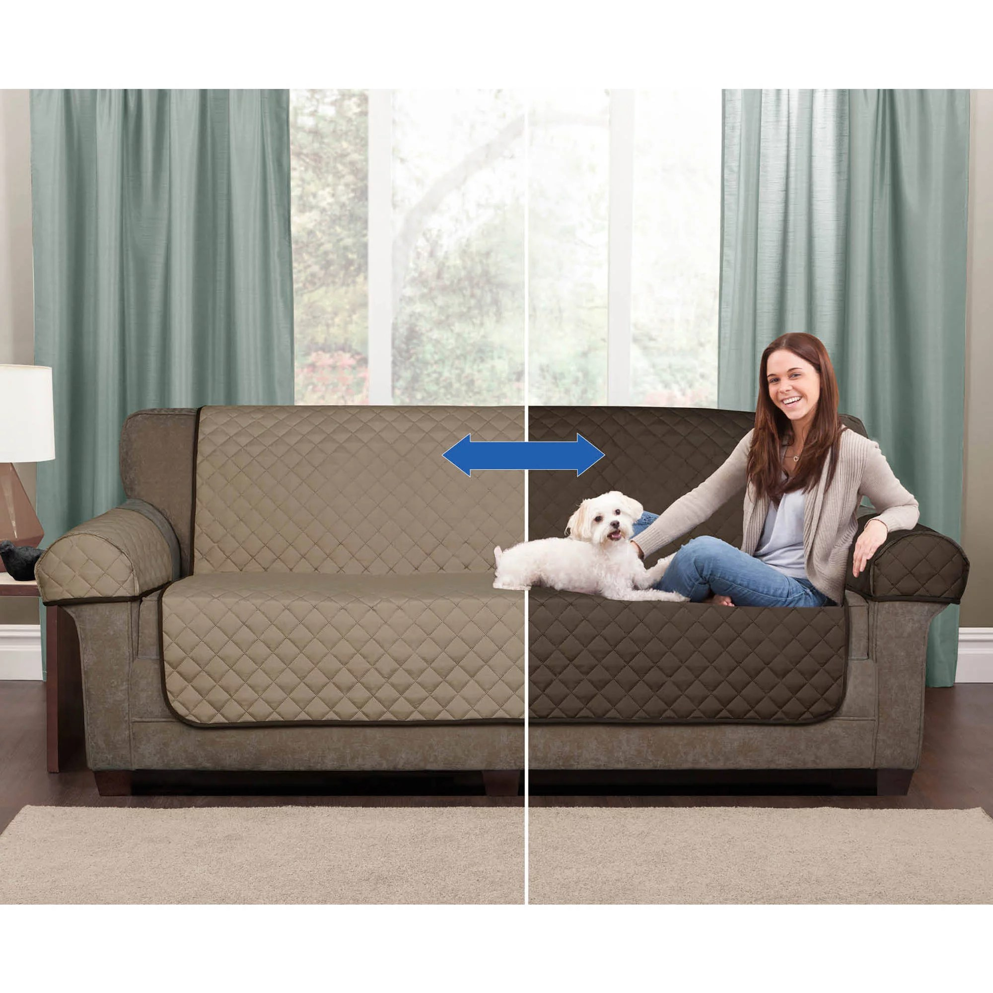 sofa coverings dogs fl print fabric sofas maytex stretch pixel 2 piece furniture cover slipcover sand walmart com