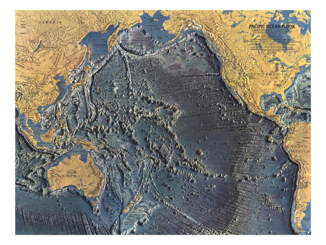 Pacific Ocean Floor Map Print Wall Art By National