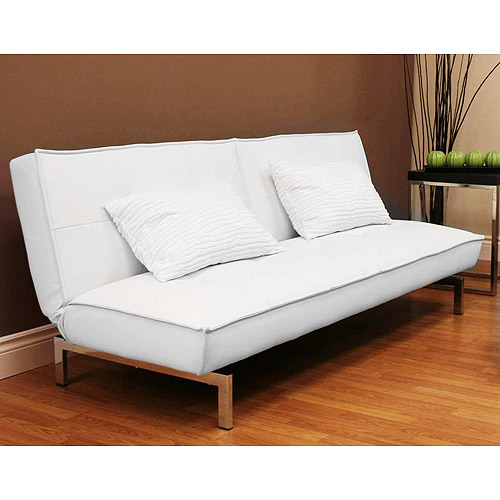 Belle Faux Leather Convertible Futon Sofa Bed White  Walmartcom