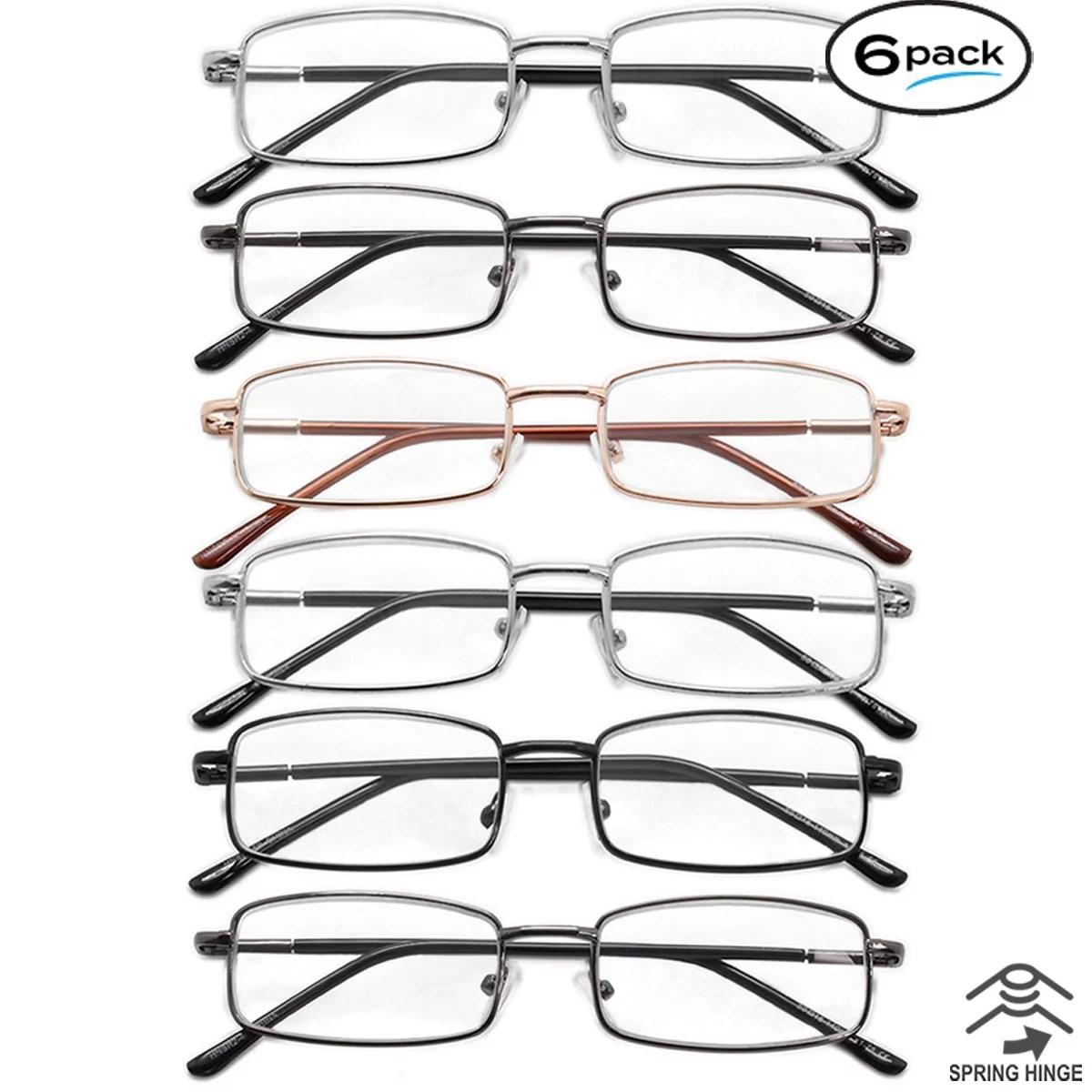 Mens Womens Reading Glasses 6 Pack Metal Frame Spring