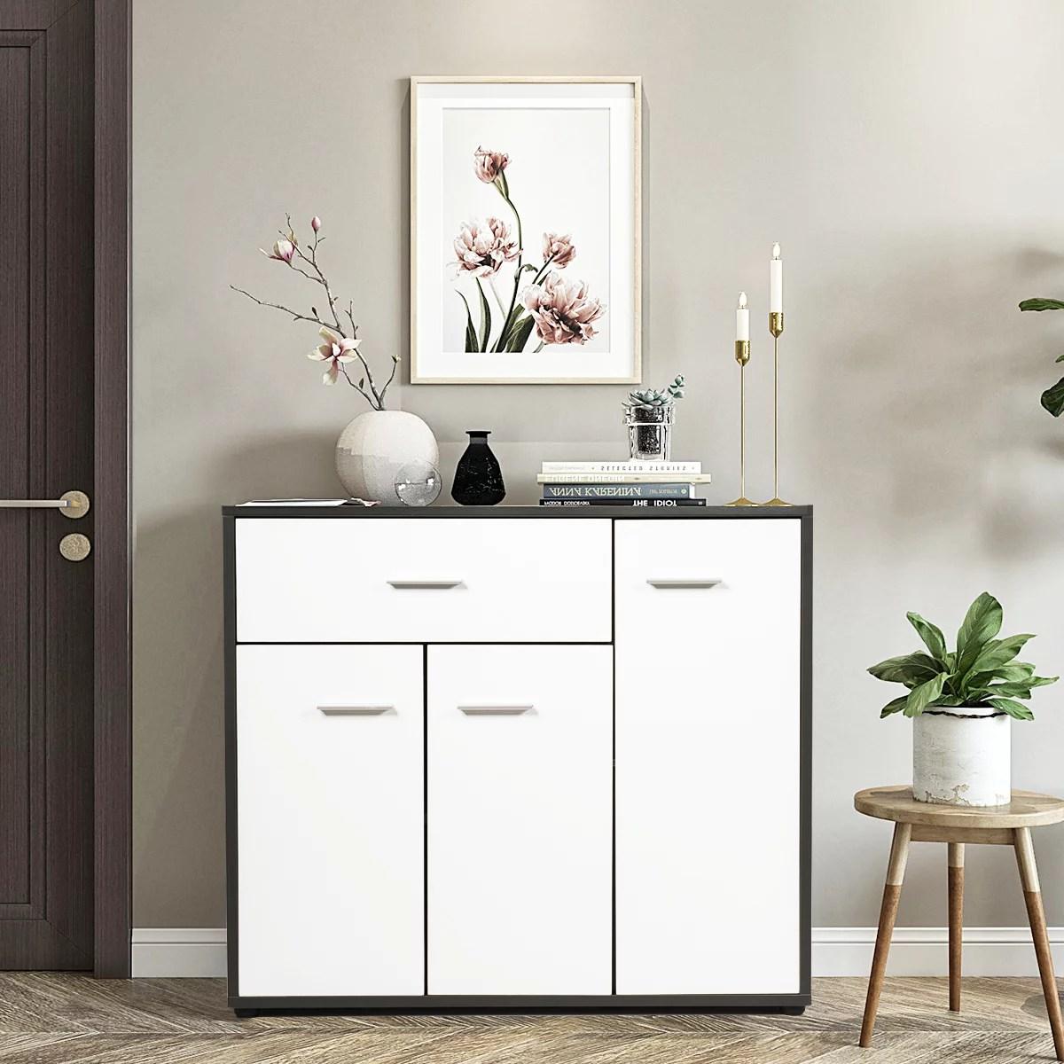 armoire de rangement casier meuble de rangement avec 3 portes et 1 tiroir pour salon bureau chambre entree cuisine en bois blanc 88 x 29 7 x 70cm